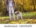 Stock photo senior woman walking her beagle dog in countryside 164195690