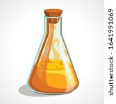 cartoon triangular flask with... | Shutterstock .eps vector #1641991069