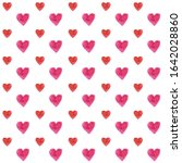watercolor hearts seamless...   Shutterstock . vector #1642028860