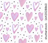 watercolor hearts seamless...   Shutterstock . vector #1642028863