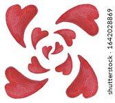 watercolor hearts seamless...   Shutterstock . vector #1642028869