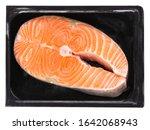 one fresh raw norwegian salmon...   Shutterstock . vector #1642068943