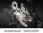 businessman hand working with... | Shutterstock . vector #164213294
