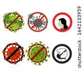 vector set of coronavirus... | Shutterstock .eps vector #1642133959