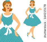 beautiful pin up girl 1950s... | Shutterstock .eps vector #164215178