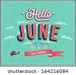 hello june typographic design.... | Shutterstock .eps vector #164216084