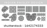 set of indian paisley design... | Shutterstock .eps vector #1642174333