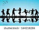 group of children silhouettes... | Shutterstock .eps vector #164218286