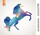 vector triangle horse. abstract