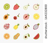 fruit icons with white...   Shutterstock .eps vector #164232800