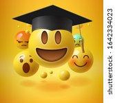 emoticons in graduation hat.... | Shutterstock .eps vector #1642334023