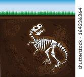 enojado,hueso,enterrado,dibujos animados,dinosaurio,fósil,degradado,ilustración,aislado,prehistórico,esqueleto,tiranosaurio
