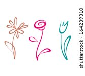 Stock vector outlined hand drawn flower collection 164239310