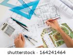 close up of a draftsman drawing ... | Shutterstock . vector #164241464