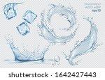 set of blue vector water... | Shutterstock .eps vector #1642427443