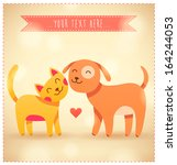 colorful cartoon cat and dog... | Shutterstock .eps vector #164244053