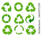 set of green recycle icons | Shutterstock .eps vector #1642471159