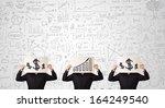 handsome people in suit... | Shutterstock . vector #164249540
