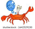Red Funny Crab Salutes And Say...