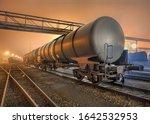 Foggy Night Scene With Railway...