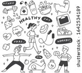 set of exercise people with... | Shutterstock .eps vector #1642534189