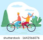 woman and man riding tandem... | Shutterstock .eps vector #1642566076