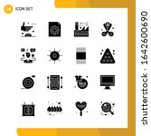 16 icon set. solid style icon...