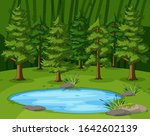 scene with big green trees by...   Shutterstock .eps vector #1642602139