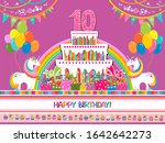 happy birthday  greeting card.... | Shutterstock . vector #1642642273