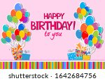 birthday card. happy birthday... | Shutterstock . vector #1642684756