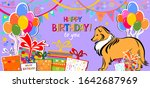 happy birthday banner. greeting ... | Shutterstock . vector #1642687969