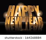 3d golden happy new year 2014... | Shutterstock . vector #164268884