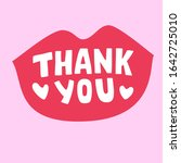 red thank you lipstic message ... | Shutterstock .eps vector #1642725010