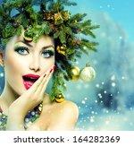 Christmas Woman. Beautiful New...