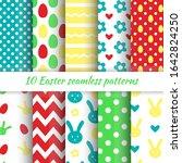 happy easter set of cute...   Shutterstock .eps vector #1642824250