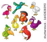 set of cartoon funny cute birds ...