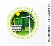 paper art of green eco friendly ...   Shutterstock .eps vector #1642829599