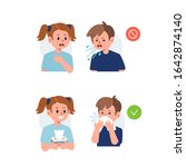 kid character sneezing and... | Shutterstock .eps vector #1642874140