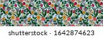 floral seamless pattern. spring ... | Shutterstock .eps vector #1642874623