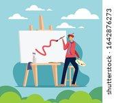 art paint on canvas easel... | Shutterstock .eps vector #1642876273