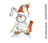 Bunny With Gifts On Skis. ...