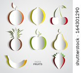 paper fruit set cut out   mix... | Shutterstock .eps vector #164301290