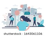 people in protective masks on a ... | Shutterstock .eps vector #1643061106