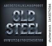 old steel alphabet font. 3d... | Shutterstock .eps vector #1643074366