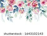 floral illustration. watercolor ... | Shutterstock . vector #1643102143