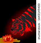 Dark Tiger With Vibrant Red...