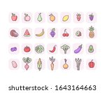 fruits and vegetables icons set....   Shutterstock .eps vector #1643164663
