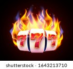 burning slot machine wins wins... | Shutterstock .eps vector #1643213710