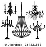 set of candlesticks and... | Shutterstock .eps vector #164321558