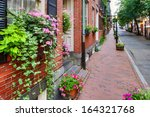window box and brick buildings... | Shutterstock . vector #164321768